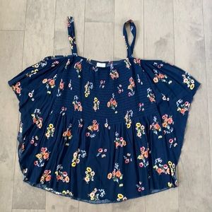 NWT Women's Self Esteem XL Short Sleeve Floral Top